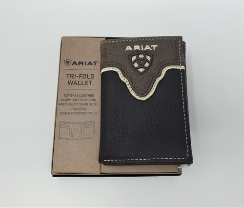 Ariat Logo Distressed Brown Leather Tri-Fold Wallet