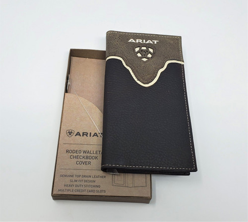 Ariat Logo Distressed Brown Leather Rodeo Wallet