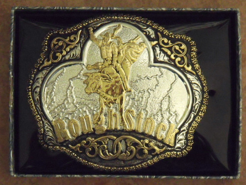 Crumrine Large Rough Stock Western Belt Buckle