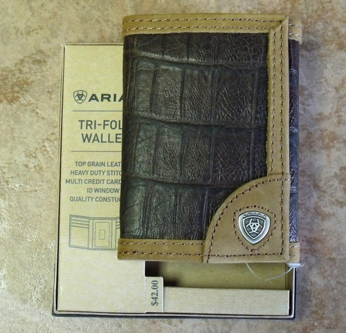 Ariat Leather Crocodile Print Tri-fold Wallet