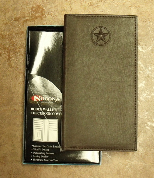 Nocona Texas Star Brown Rodeo Wallet/Checkbook