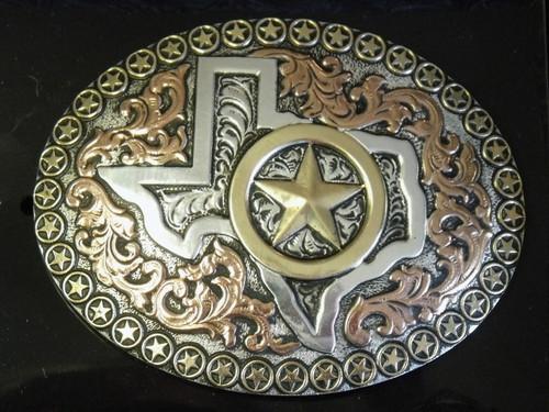 Crumrine Large Texas/Star Western Belt Buckle