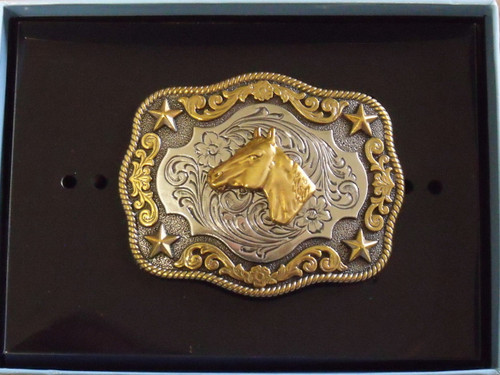 Nocona Kids Fancy Horsehead Belt Buckle