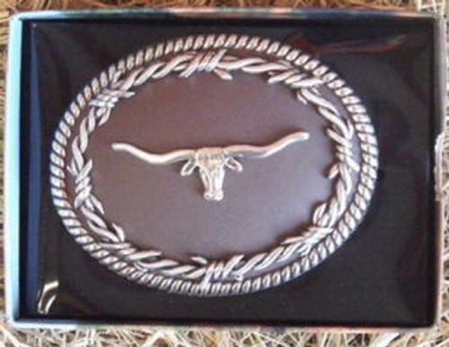 Nocona Barbed Wire/Longhorn Belt Buckle