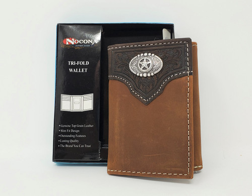 Nocona Distressed Leather With Star Tri-fold Wallet