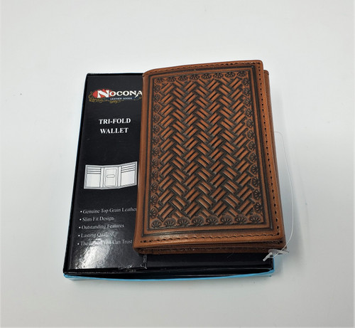 Nocona Tan Embossed Tri-Fold Wallet