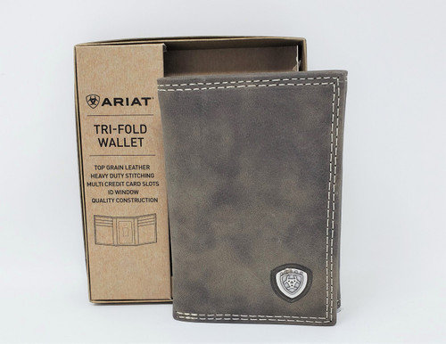 Ariat Gray Leather Tri-Fold Wallet
