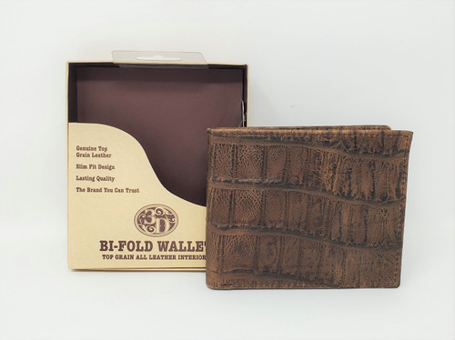 3D Cognac Bifold Wallet With Flip Case