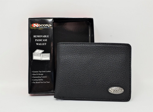 Nocona Black Leather Bi-fold Wallet w/Removable Passcase