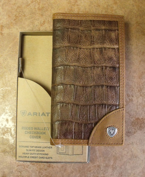 Ariat Leather Crocodile Print Rodeo Wallet/Checkbook