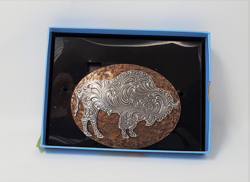 Nocona Hammered Copper/Pewter Buffalo Belt Buckle