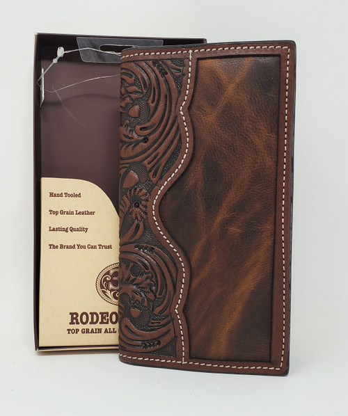 3D Hand Tooled Leather Rodeo Wallet