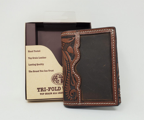 3D Hand Tooled Leather Tri-Fold Wallet