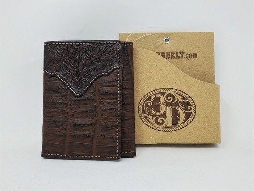 3D Chocolate Crocodile Print Tri-Fold Wallet