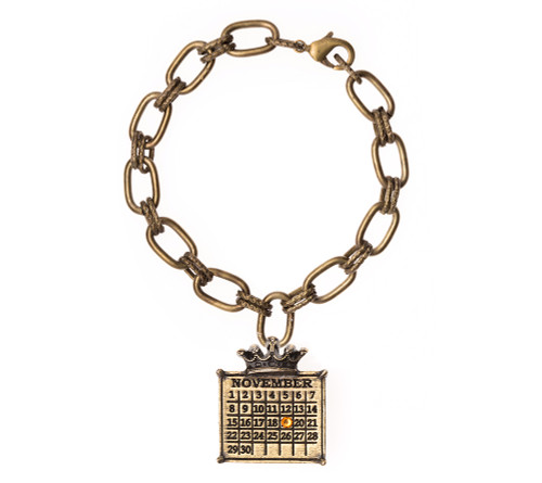 """""""Your Special Day"""" Calendar Crown Bracelet on Double Loop Chain with a colored crystal"""