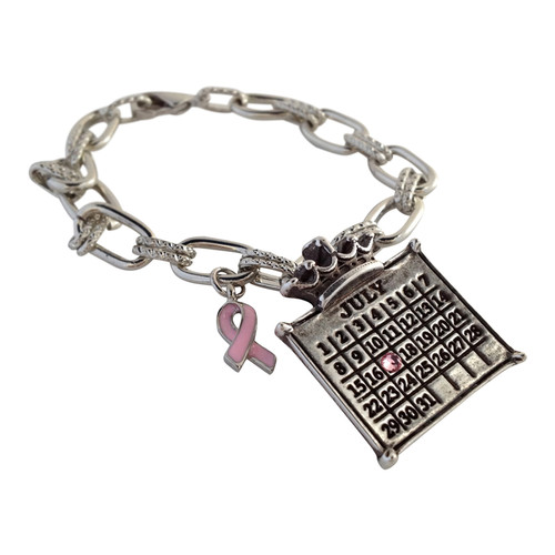 "Your ""Cancerversary"" Personalized Calendar Bracelet with Crown Charm with Ribbon Charm and Swarovski crystal"