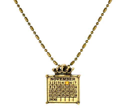 """Your """"Cancerversary"""" Personalized Crown Calendar Charm with Swarovski Crystal and enameled ribbon (Ball chain included)"""