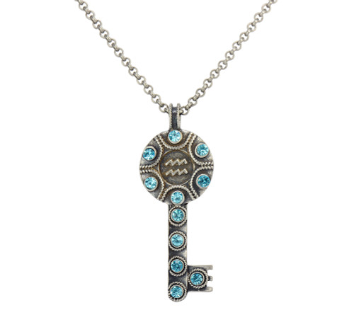 Key Zodiac Sign Necklace  AQUARIUS