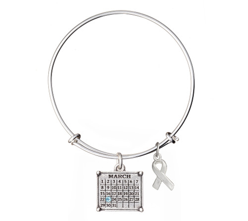 "Your ""Cancerversary"" Mini Calendar Charm with awareness ribbon on expandable bangle bracelet"