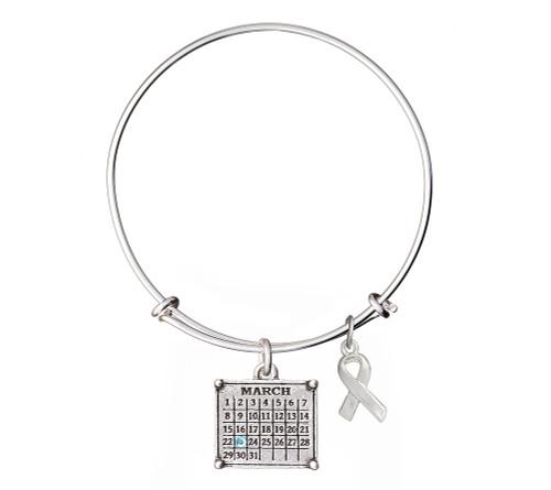 "Your ""Cancerversary"" Mini Calendar Charm with awareness ribbon on expandable bangle bracelet"