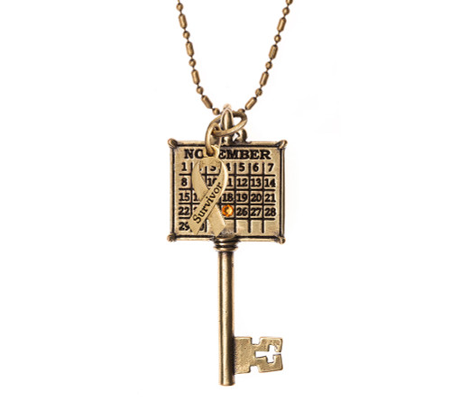 """""""Survivor"""" Personalized Key Calendar Charm with Colored Crystal ,"""