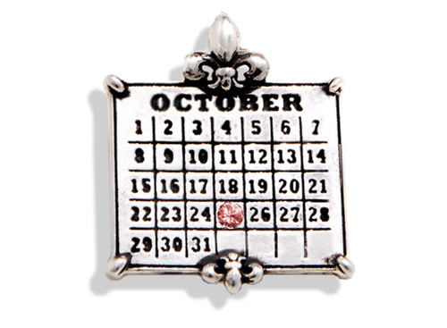 "Personalized Sterling Silver Calendar ""Datesake™"" Charm with Swarovski Crystal"