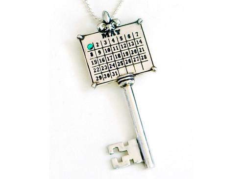 Sterling Silver Key Calendar Charm with Swarovski Crystal