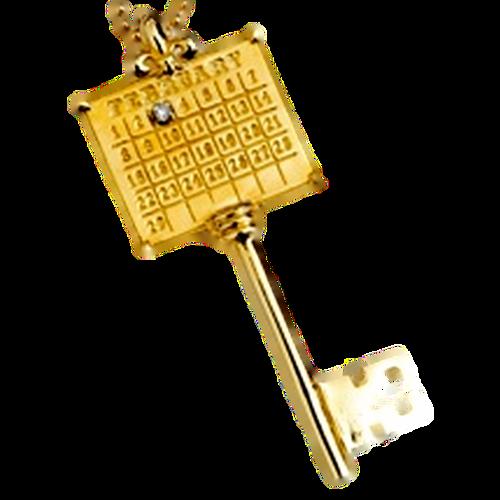 14K White Gold C Key Charm