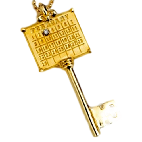 14kt Yellow Gold or White Gold Key Calendar Charm with 2 pt. Diamond