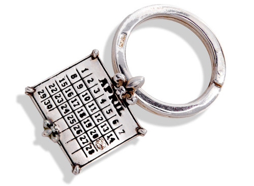 Personalized Sterling Silver Calendar Charm on Key Ring