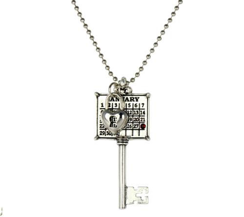 """""""Key to My Heart"""" Key Calendar Necklace with Swarovski Crystal"""