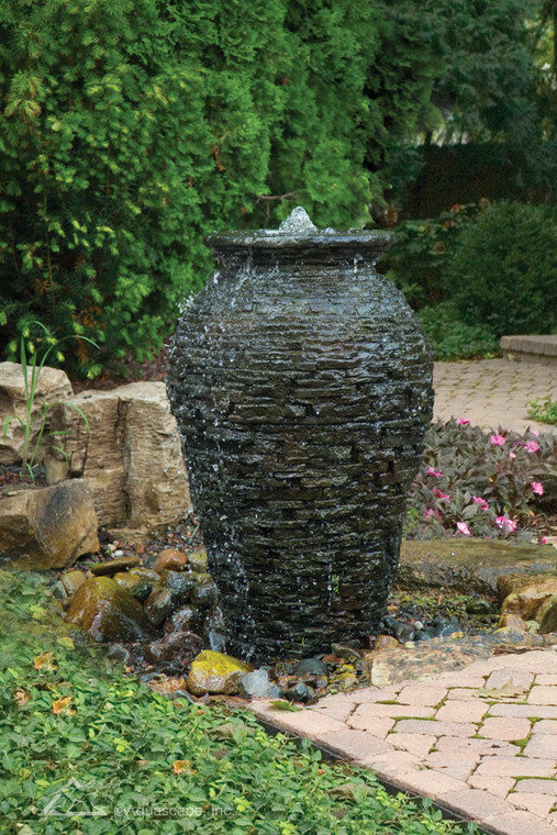 Medium Stacked Slate Urn with AquaBlox reservoir and Vault