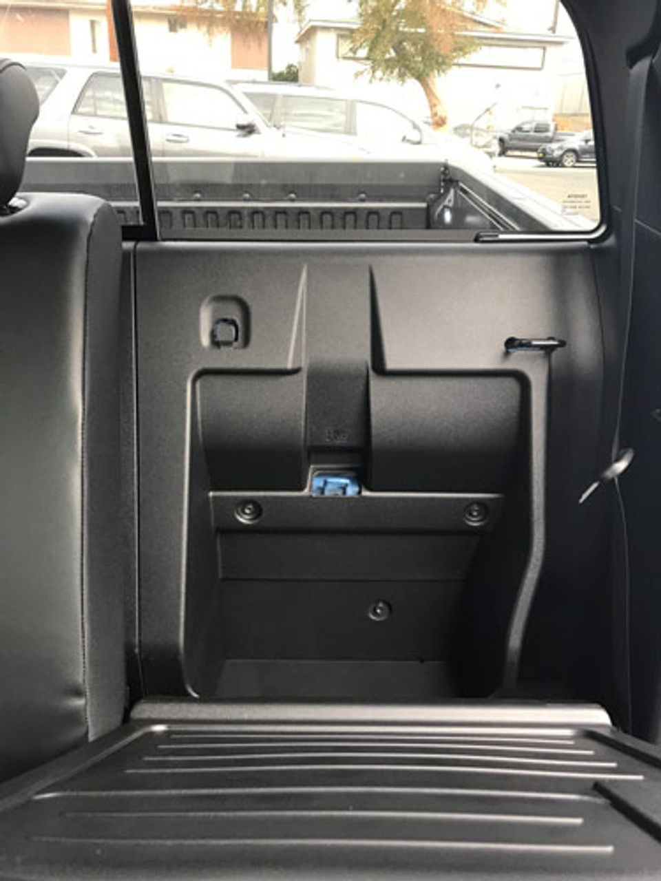 Replaces the factory storage compartment.