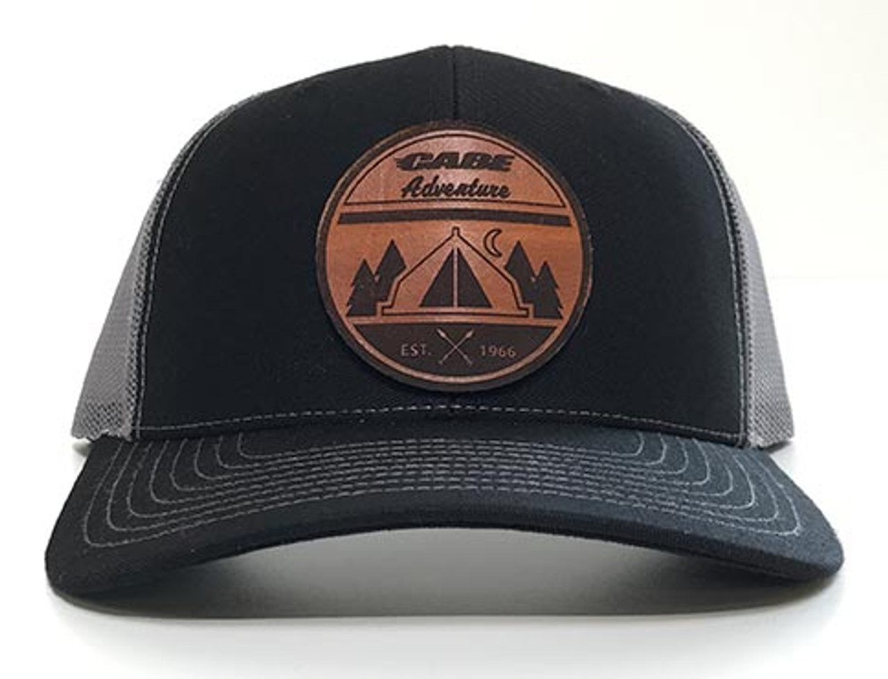 Black / Grey color - Cabe Adventure Leather Patch Hats