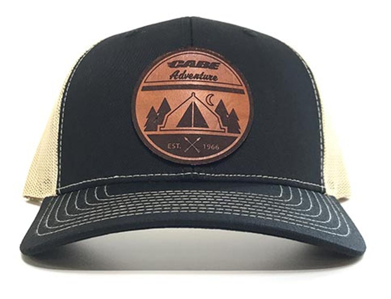 Black / Tan color - Cabe Adventure Leather Patch Hats