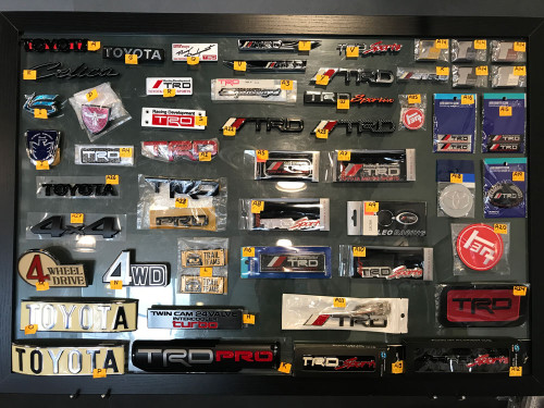 Toyota decals, badges and patches.