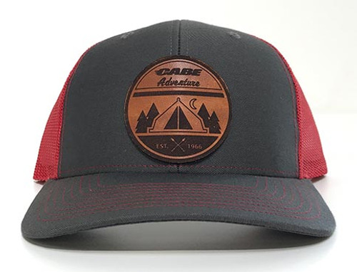 Charcoal / Red color - Cabe Adventure Leather Patch Hats