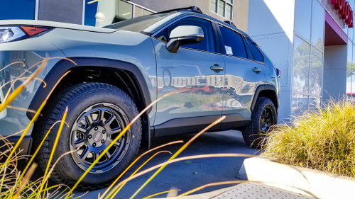 Black Rhino Chase 17x8 in matte black, shown on a 2020 Cabe Adventure Rav4 in Lunar Rock.  (Mounted on 235 65 17 Falken Wildpeak a/t , not included)