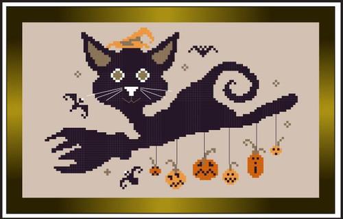 Broom Black Cat / Stitch N Needs