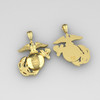 """EAGLE GLOBE AND ANCHOR 2"""" 14K YELLOW GOLD PENDANT WITH SOLID BACK"""