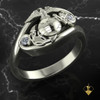 White Gold or Silver Woman Marines Eagle Globe Anchor Ring with diamonds