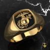 EGA Signet Woman Marines Ring in Yellow Gold