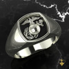 EGA Signet Woman Marines Ring in Silver or White Gold