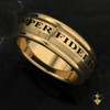 """USMC Marines Semper Fidelis Band  The stunning Semper Fidelis top and bottom  The band is comfort fit and 7.5 mm wide. Your choice of black or red background.   """"Made by Marines for Marines""""    Available in Sterling Silver, 10k, 14k and 18k White or Yellow gold.   100% Satisfaction Guaranteed"""