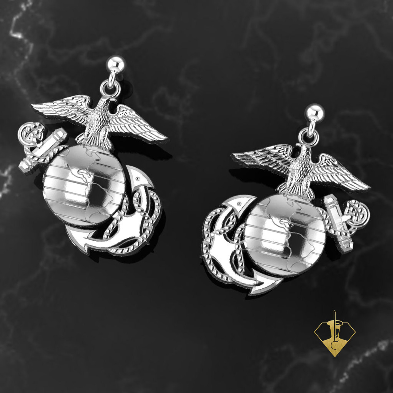 ME50S  Eagle Globe and Anchor Sterling Silver Earrings with Ball Studs