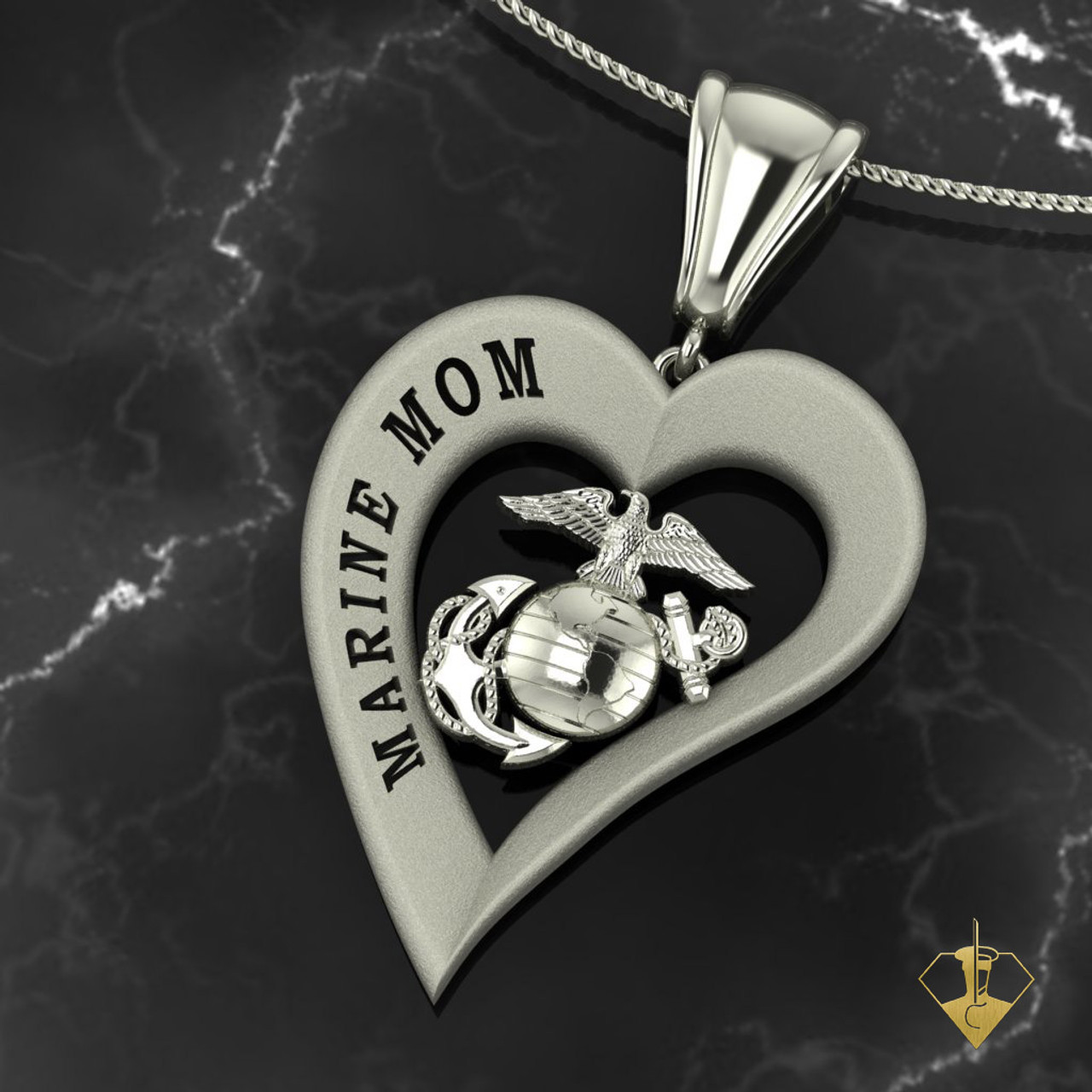 """Marine Mom Heart Pendant  available in Sterling Silver, 10k, 14k and 18k White or Yellow gold. """"Made by Marines for Mom""""  100% Satisfaction Guaranteed"""
