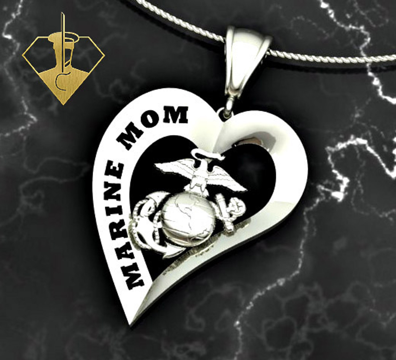 "Marine Mom Heart Diamond Etched Pendant w/18"" Sterling Silver Chain also available in 10k, 14k and 18k white or yellow gold ""Made by Marines for Marines""    100% Satisfaction Guaranteed"