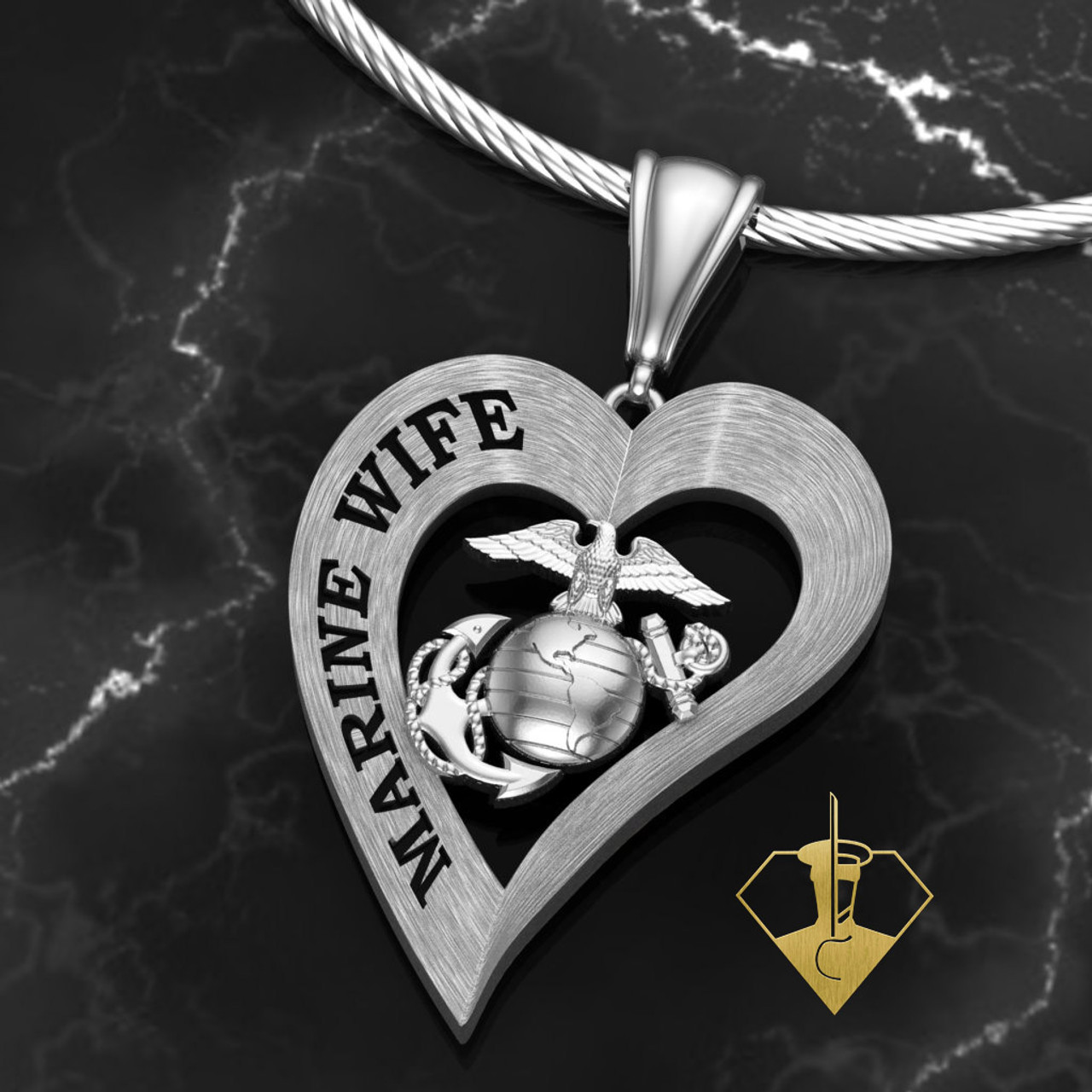 "Marine Wife Heart Diamond Etched Pendant w/18"" Sterling Silver Chain also available in 10k, 14k and 18k white or yellow gold ""Made by Marines for Marines""    100% Satisfaction Guaranteed"