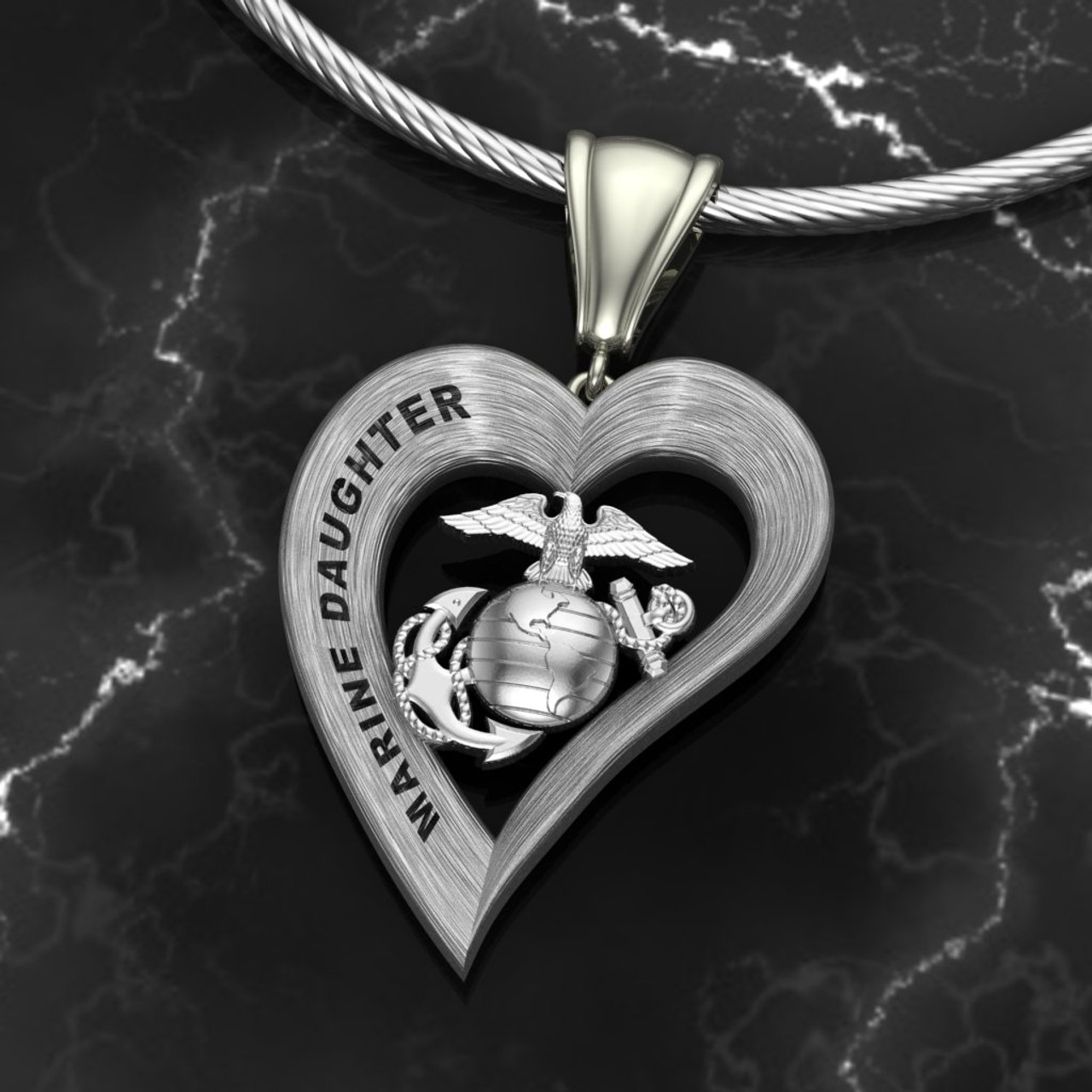 """Marine Daughter Silver Heart Pendant w/ Diamond Etching  w/18"""" Sterling Silver Chain  also available in 10k , 14k and 18k white or yellow gold  """"Made by Veterans for Veterans""""    100% Satisfaction Guaranteed"""