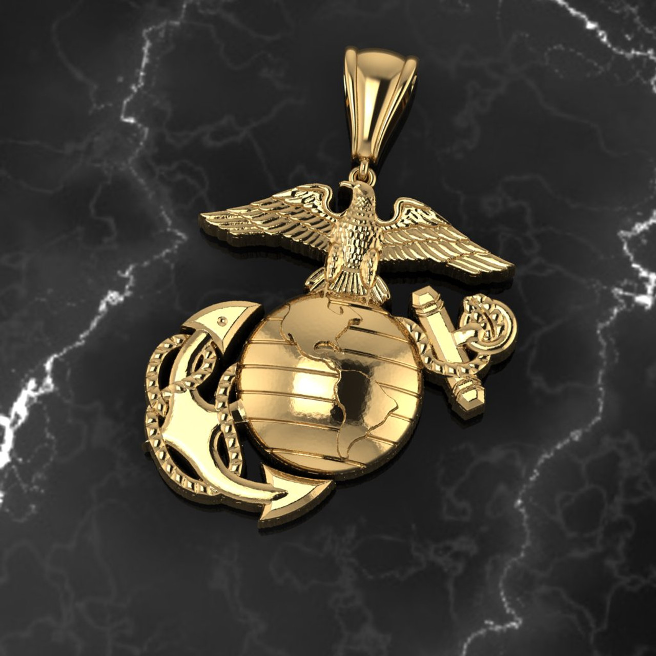 """EAGLE GLOBE AND ANCHOR 1.25"""" 14K YELLOW GOLD PENDANT"""